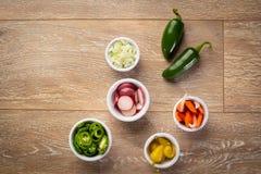 Jalapeni, peperoni, cipolla, ravanello e carote in aceto fotografia stock