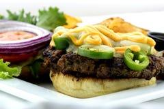 Jalapeno-Burger stockbild