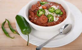 Jalapeno and Cayenne Peppers with Red Beans and Rice Royalty Free Stock Photography