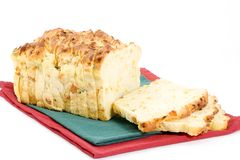 Jalapeno cheese bread. This loaf of delicious jalapeno cheese bread with onion was purchased at a local farmers market Royalty Free Stock Images