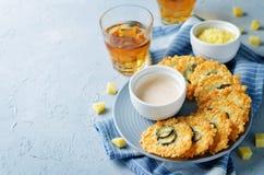 Jalapeno Cheese Crisps with Greek Yogurt Pepper Sauce Stock Photography