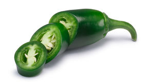 Diced Jalapeno chile, paths. Jalapeno chile pepper, diced pod, green. Clipping paths, shadow separated stock images