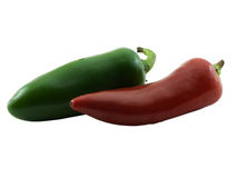 Jalapeno and Chili. Photo of a jalapeno and chili pepper isolated on white Royalty Free Stock Photos