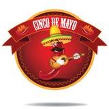 Jalapeno Cinco De Mayo Icon de bande dessinée Images libres de droits