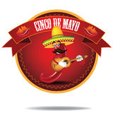 Jalapeno Cinco De Mayo Icon del fumetto Immagini Stock Libere da Diritti