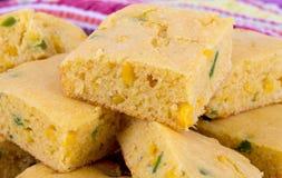Jalapeno corn bread squares Royalty Free Stock Photography