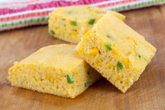 Jalapeno corn bread squares Royalty Free Stock Images