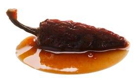 Jalapeno fumé de sauce à Adobo d'en de Chipotle, chemins Photographie stock libre de droits