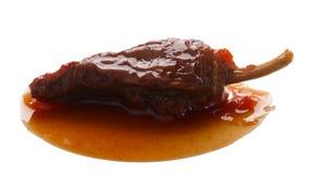 Jalapeno fumé de sauce à Adobo d'en de Chipotle, chemins Images libres de droits