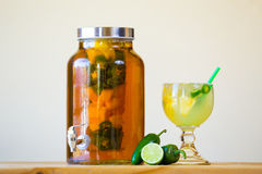 Jalapeno Pepper Infused Tequila Royalty Free Stock Photos