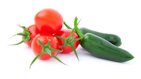 Jalapeno Pepper and tomatoes, Royalty Free Stock Photo