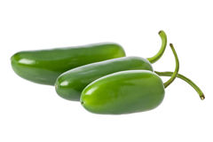 Jalapeno Peppers. Three whole green jalapeno peppers against a white background stock photography