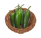 Jalapeno peppers in small basket Stock Photos