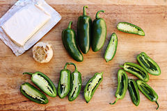 Jalapeno popper ingredients cutting board Royalty Free Stock Photos