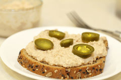 Jalapeno Salmon Spread. Jalapenos top a chipotle salmon spread on one slice of sprouted whole grain bread resting on a plate with a fork and salmon spread bowl royalty free stock photo