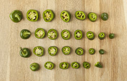 Jalapeno sliced green peppers  Stock Photography