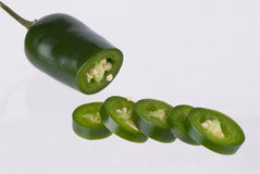 Jalapeno in Slices. A Green Jalapeno in Slices Stock Photography
