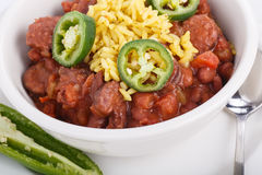 Jalapeno Slices on Red Beans and Rice Royalty Free Stock Images