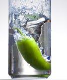 Jalapeno Water Splash. An image of a jalepeno splashing in the water Royalty Free Stock Photo