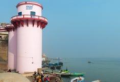 Jalasen Ghat in Varanasi auf dem Ganges Stockfotografie