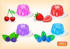 Jalea con las bayas multicoloras y fragantes ilustración del vector
