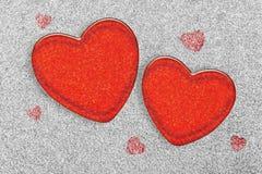 Jalea de dos corazones en la hierba blanca Foto de archivo