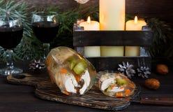 Jalea rusa tradicional del pollo a la tabla del Año Nuevo Fotografía de archivo libre de regalías