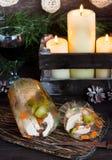 Jalea rusa tradicional del pollo a la tabla del ` s del Año Nuevo Foto de archivo libre de regalías