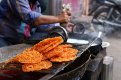 Jalebi, Indian Sweet. Making of Jalebi, popular Indian Sweet at a street shop Stock Images