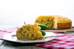 Jalepeno cheddar cornbread. Home baked jalepeno and cheddar cornbread Royalty Free Stock Photos