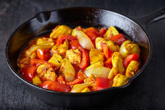 Jalfrezi chicken traditional Indian culture fried spicy meat and vegetables healthy food Stock Image