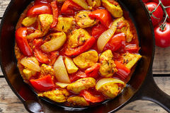 Jalfrezi chicken traditional Indian culture spicy meat and vegetables healthy food Stock Photo