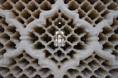 Jali screen detail from Bibi Ka Maqbara. Bibi Ka Maqbara is a maqbara located in Aurangabad, Maharashtra, India. It was built by Azam Shah, son of Aurangzeb, in Stock Photography
