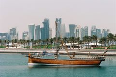 Jalibut-Dhow in Doha-Lagune Stockbild