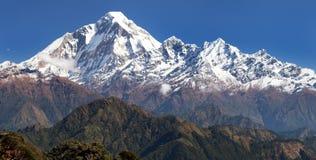 从Jaljala通行证的Panoramatic视图向道拉吉里峰Himal 库存照片
