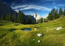 Τοπίο από τις ιουλιανές Άλπεις, Σλοβενία. Άποψη σχετικά με Jalovec Στοκ Φωτογραφία