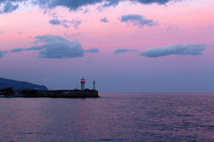 Jalta-Leuchtturm bei Sonnenuntergang Stockbild