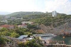 Jalta sulla penisola della Crimea con un occhio del ` s dell'uccello fotografia stock