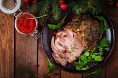 Jamón cocido la Navidad y caviar rojo fotos de archivo libres de regalías
