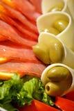 Jamón de Prosciutto y ensalada del queso Imagen de archivo libre de regalías