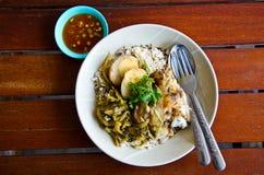 Jamón fresco en el arroz Fotos de archivo libres de regalías