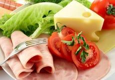 Jamón, tomate, queso Fotografía de archivo libre de regalías