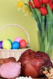 Jamón y huevos de Pascua Imagen de archivo libre de regalías