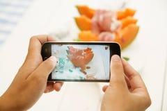 Jamón y melón Imagen de archivo libre de regalías