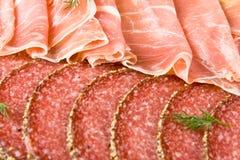 Jamón y salami de Parma fotografía de archivo libre de regalías