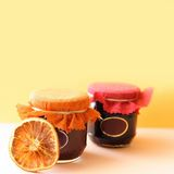 Jam. Sweet hand-made fruit jam royalty free stock photos
