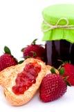 Jam. Homemade strawberry jam on bread Stock Photos