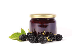 Jam. Jar with fresh berries Royalty Free Stock Photos