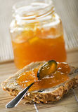 Jam. Homemade jam on a slice of bread close up Stock Photo