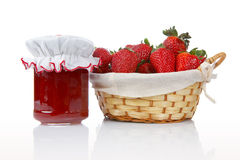 Jam And Basket Of Strawberries Stock Photos